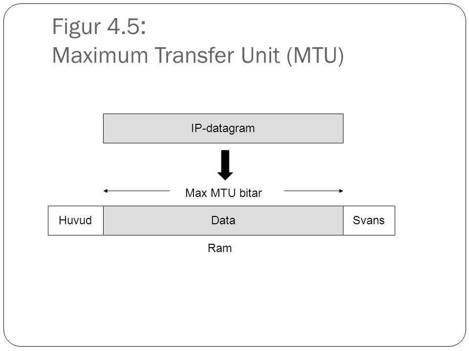Figur 4.5 : Maximum Transfer Unit (MTU) IP-datagram Data Ram HuvudSvans Max MTU bitar