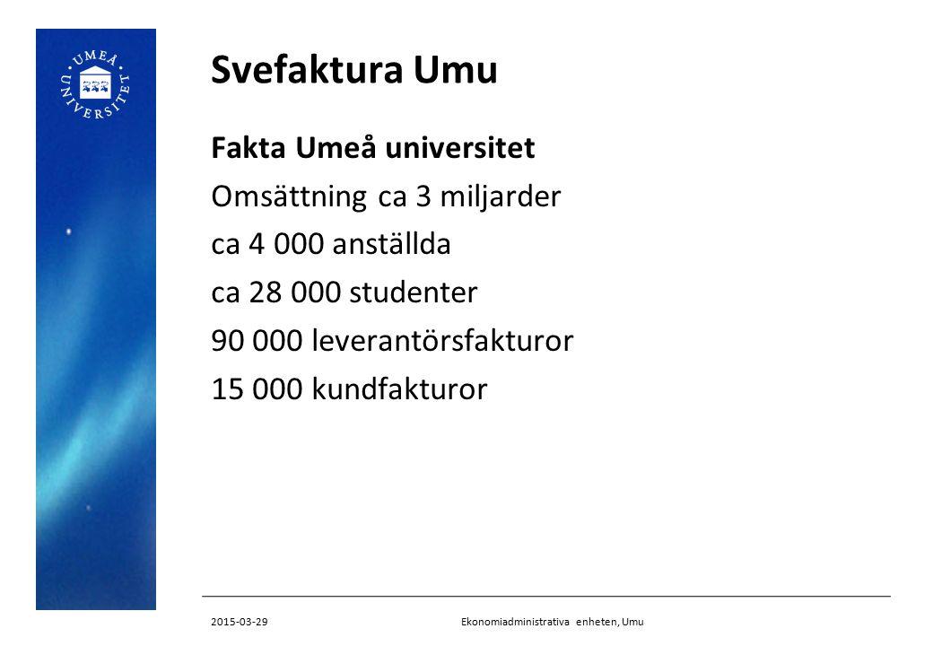 Svefaktura Umu Fakta Umeå universitet Omsättning ca 3 miljarder ca 4 000 anställda ca 28 000 studenter 90 000 leverantörsfakturor 15 000 kundfakturor Ekonomiadministrativa enheten, Umu2015-03-29