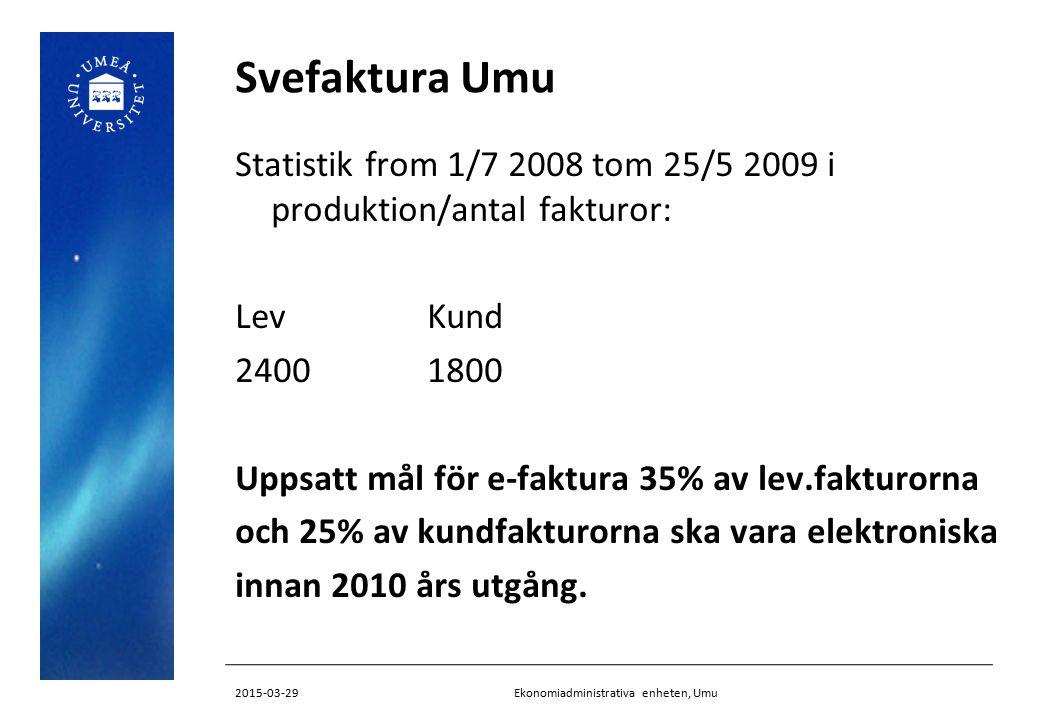 Svefaktura Umu Erfarenheter: Regelbundna möten med både ekonomisystems- leverantör/EFH lev och Itella Kräv snabba svar och tidsangivelser Tekniska problem med formatet (koppla in experter direkt) bolla till ESV, SFTI-kansli Teknikspråket Samarbeta med andra i nätverk (STRID) Kontakter med många parter tar mycket tid Ekonomiadministrativa enheten, Umu2015-03-29