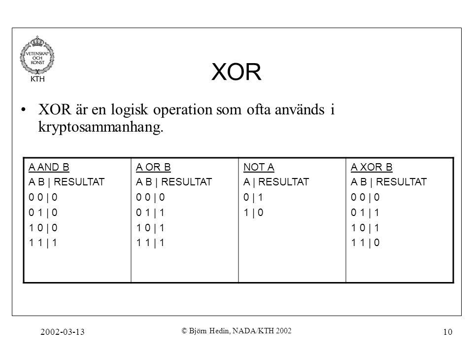 2002-03-13 © Björn Hedin, NADA/KTH 2002 10 XOR XOR är en logisk operation som ofta används i kryptosammanhang. A AND B A B | RESULTAT 0 0 | 0 0 1 | 0
