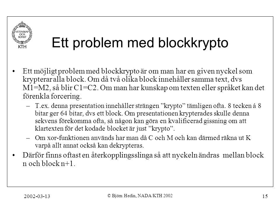 2002-03-13 © Björn Hedin, NADA/KTH 2002 15 Ett problem med blockkrypto Ett möjligt problem med blockkrypto är om man har en given nyckel som krypterar