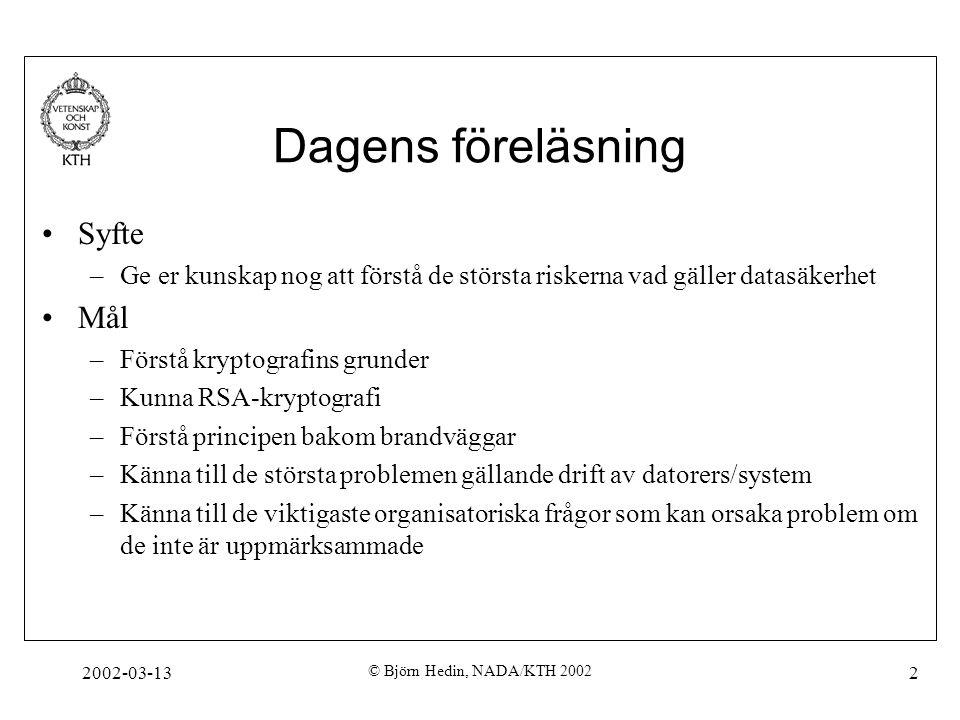 2002-03-13 © Björn Hedin, NADA/KTH 2002 2 Dagens föreläsning Syfte –Ge er kunskap nog att förstå de största riskerna vad gäller datasäkerhet Mål –Förs