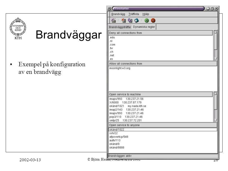 2002-03-13 © Björn Hedin, NADA/KTH 2002 26 Brandväggar. Exempel på konfiguration av en brandvägg