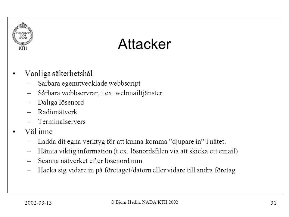 2002-03-13 © Björn Hedin, NADA/KTH 2002 31 Attacker Vanliga säkerhetshål –Sårbara egenutvecklade webbscript –Sårbara webbservrar, t.ex. webmailtjänste