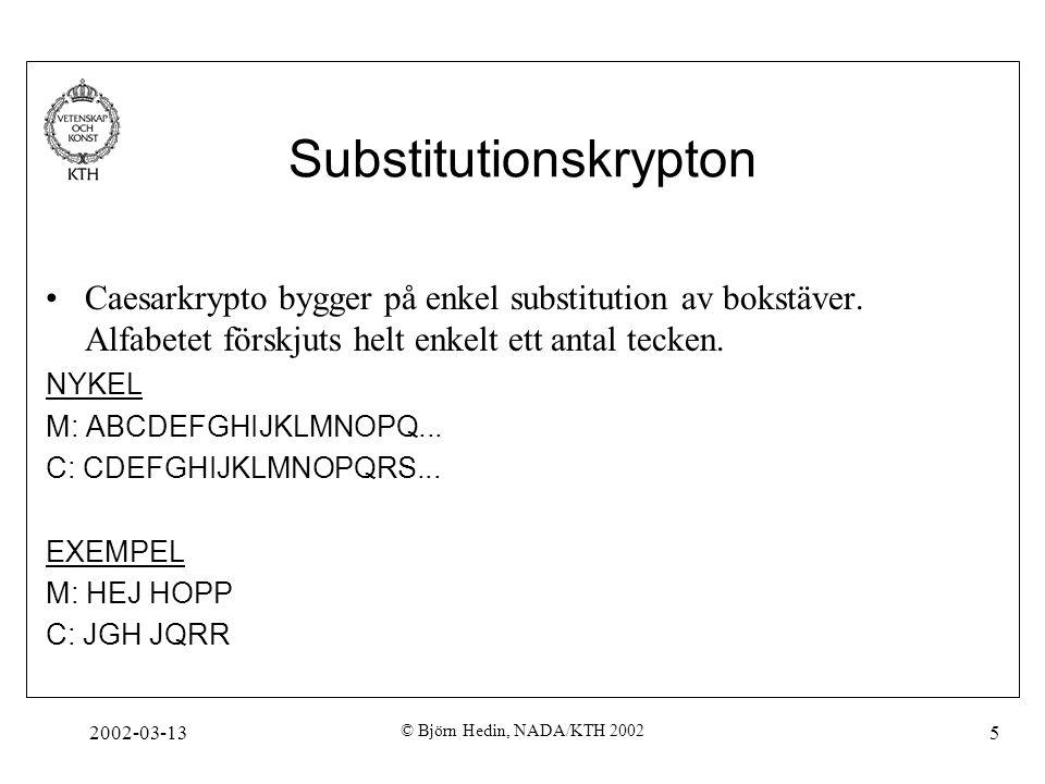 2002-03-13 © Björn Hedin, NADA/KTH 2002 5 Substitutionskrypton Caesarkrypto bygger på enkel substitution av bokstäver. Alfabetet förskjuts helt enkelt
