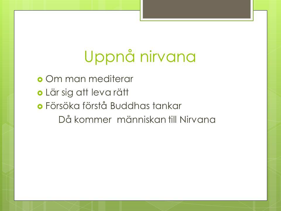 Uppnå nirvana  Om man mediterar  Lär sig att leva rätt  Försöka förstå Buddhas tankar Då kommer människan till Nirvana