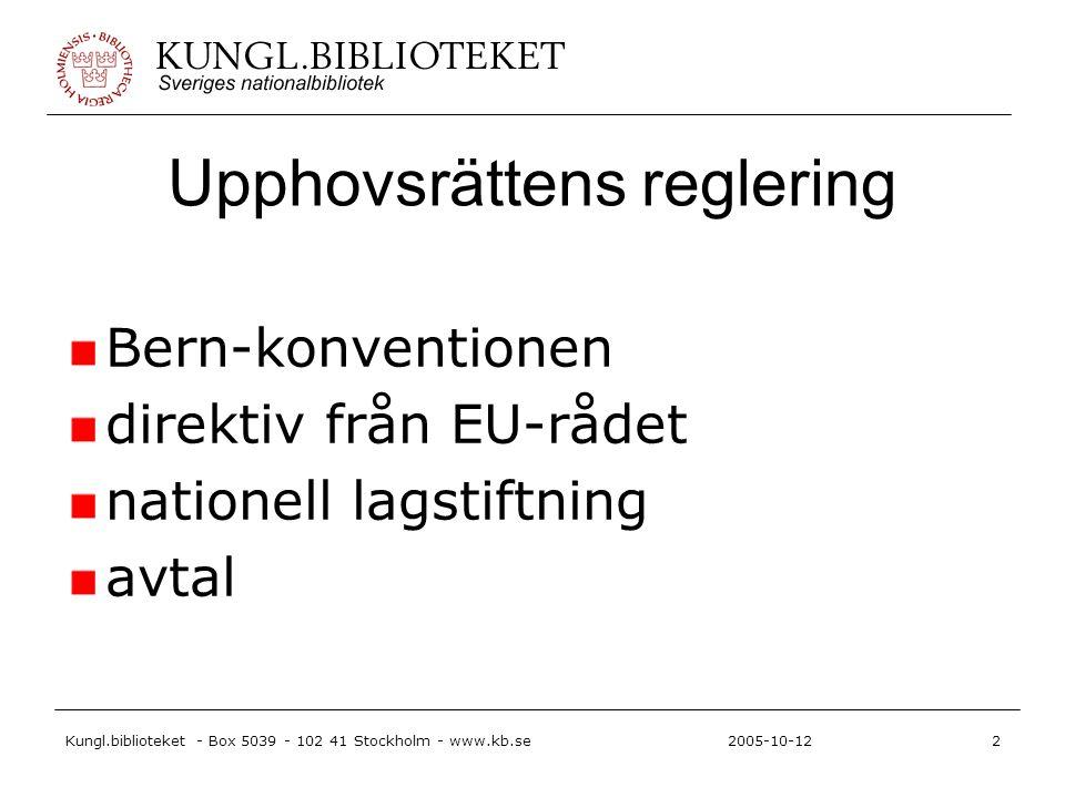 Kungl.biblioteket - Box 5039 - 102 41 Stockholm - www.kb.se2 2005-10-12 Upphovsrättens reglering Bern-konventionen direktiv från EU-rådet nationell lagstiftning avtal