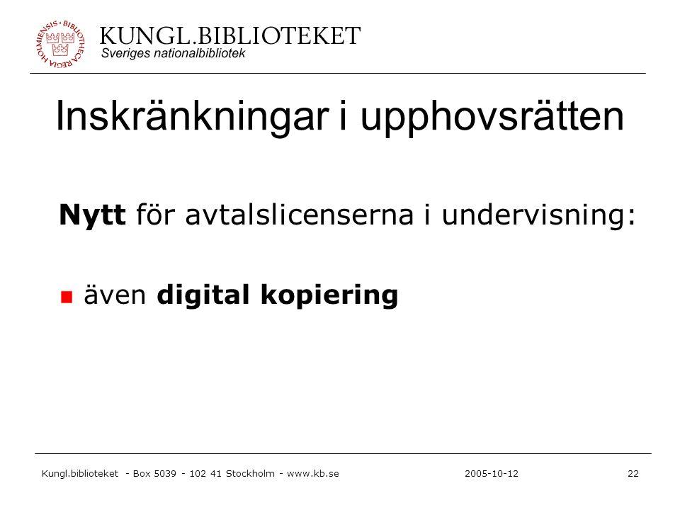 Kungl.biblioteket - Box 5039 - 102 41 Stockholm - www.kb.se22 2005-10-12 Inskränkningar i upphovsrätten Nytt för avtalslicenserna i undervisning: även digital kopiering
