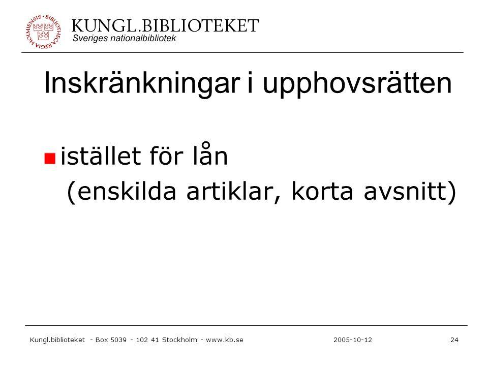 Kungl.biblioteket - Box 5039 - 102 41 Stockholm - www.kb.se24 2005-10-12 Inskränkningar i upphovsrätten istället för lån (enskilda artiklar, korta avsnitt)