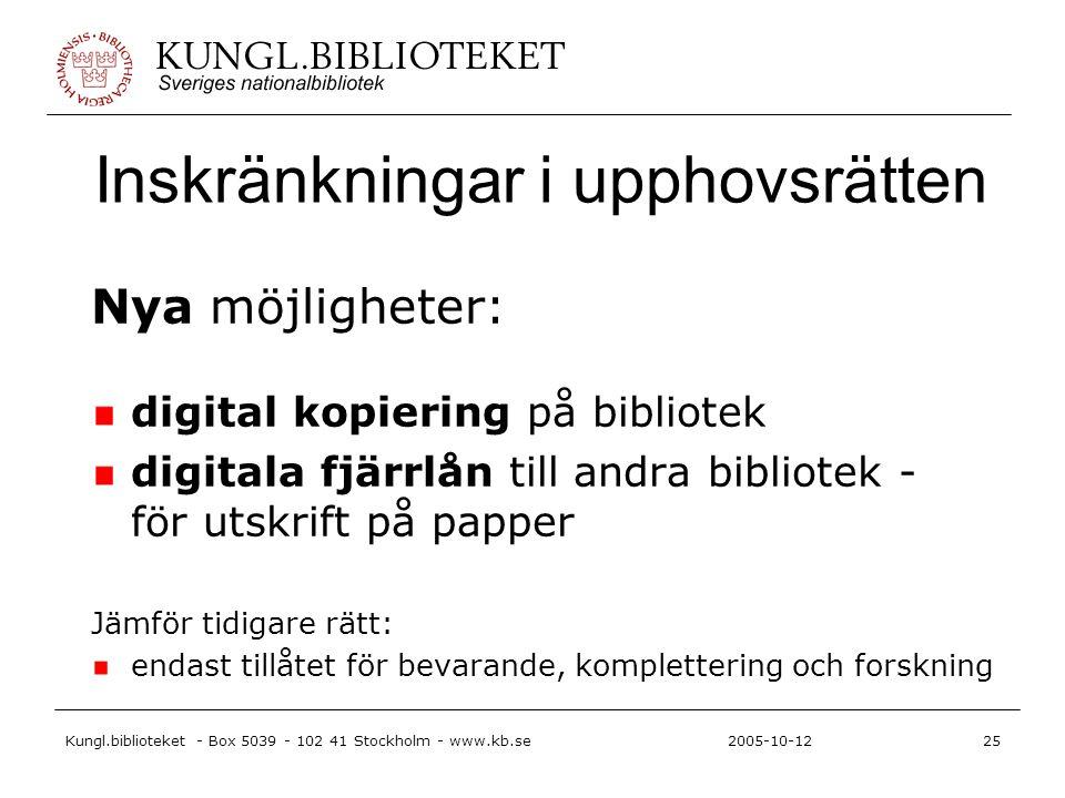 Kungl.biblioteket - Box 5039 - 102 41 Stockholm - www.kb.se25 2005-10-12 Inskränkningar i upphovsrätten Nya möjligheter: digital kopiering på bibliote