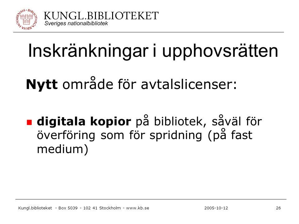 Kungl.biblioteket - Box 5039 - 102 41 Stockholm - www.kb.se26 2005-10-12 Inskränkningar i upphovsrätten Nytt område för avtalslicenser: digitala kopior på bibliotek, såväl för överföring som för spridning (på fast medium)