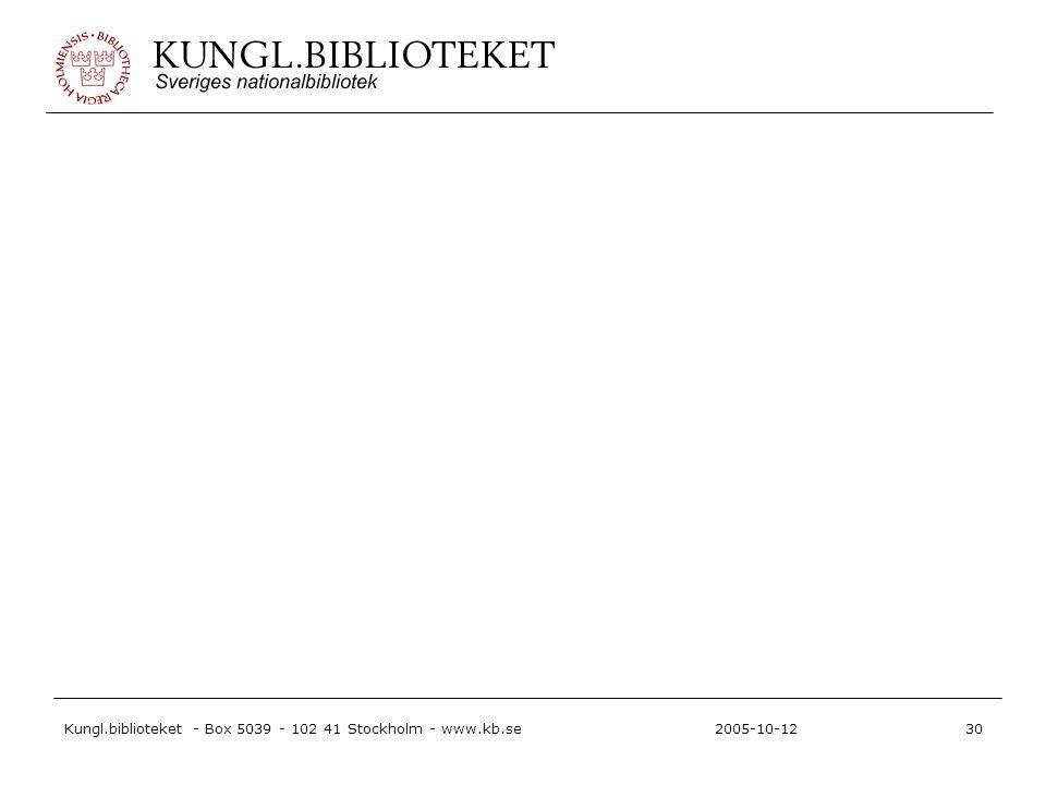 Kungl.biblioteket - Box 5039 - 102 41 Stockholm - www.kb.se30 2005-10-12