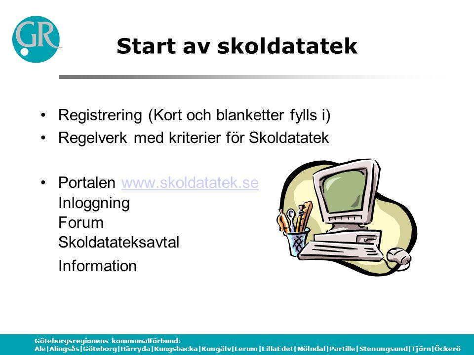 Göteborgsregionens kommunalförbund: Ale|Alingsås|Göteborg|Härryda|Kungsbacka|Kungälv|Lerum|LillaEdet|Mölndal|Partille|Stenungsund|Tjörn|Öckerö Start av skoldatatek Registrering (Kort och blanketter fylls i) Regelverk med kriterier för Skoldatatek Portalen www.skoldatatek.se Inloggning Forum Skoldatateksavtalwww.skoldatatek.se Information