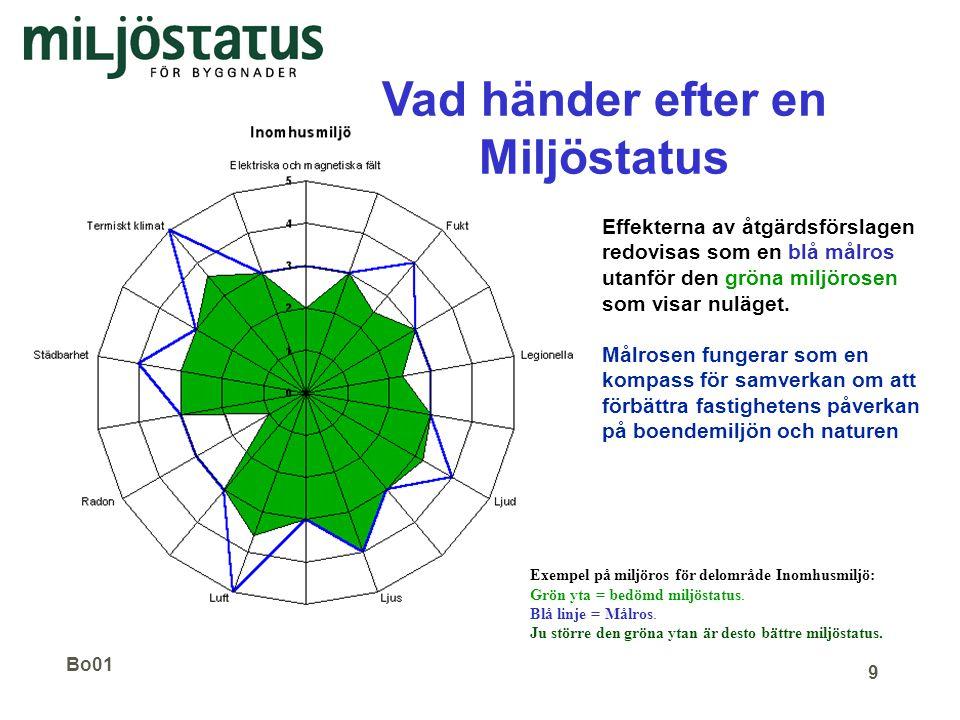 Bo01 9 Effekterna av åtgärdsförslagen redovisas som en blå målros utanför den gröna miljörosen som visar nuläget. Målrosen fungerar som en kompass för