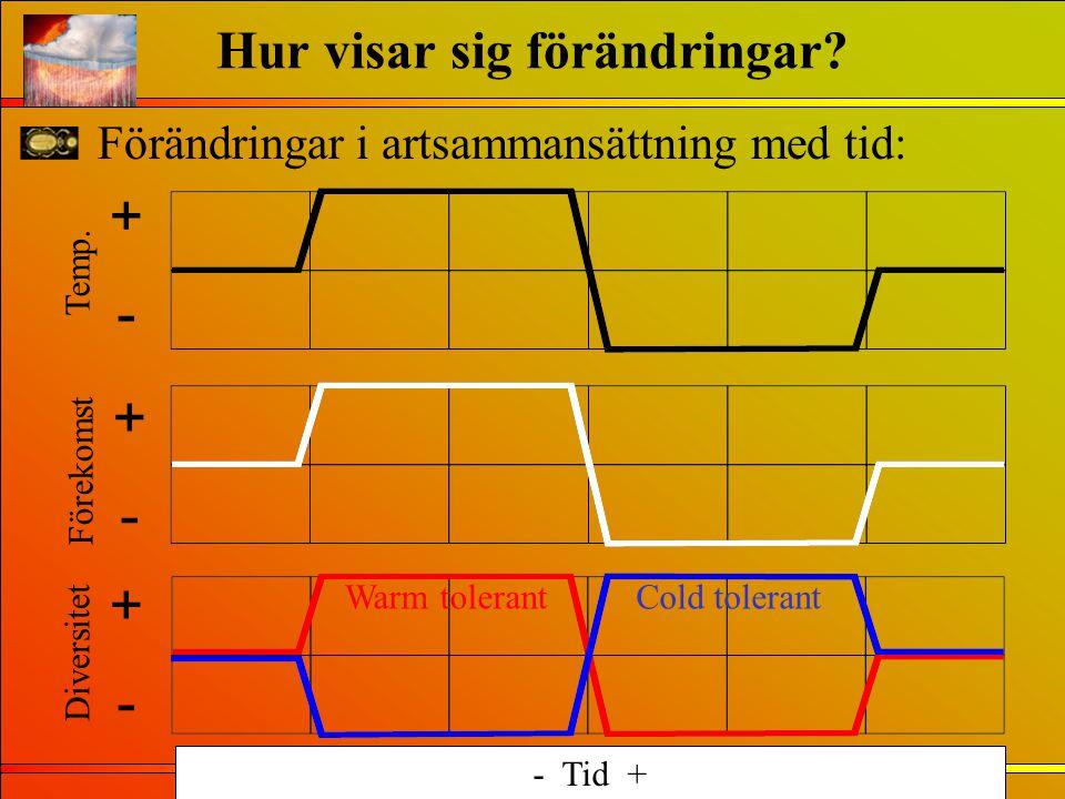 Förändringar i artsammansättning med tid: Hur visar sig förändringar? Temp. + - Förekomst + - Diversitet + - Cold tolerant Warm tolerant - Tid +