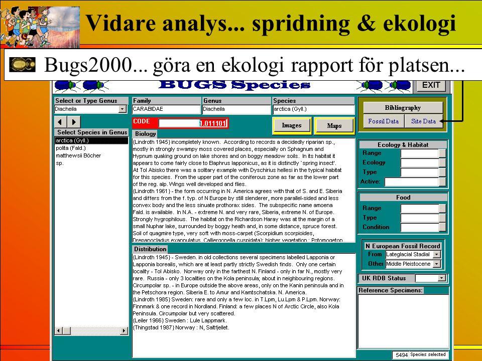 Bugs2000... göra en ekologi rapport för platsen... Vidare analys... spridning & ekologi
