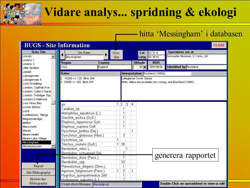 hitta 'Messingham' i databasen generera rapportet Vidare analys... spridning & ekologi