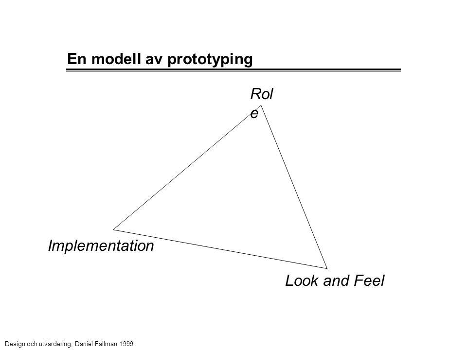 En modell av prototyping Rol e Design och utvärdering, Daniel Fällman 1999 Implementation Look and Feel