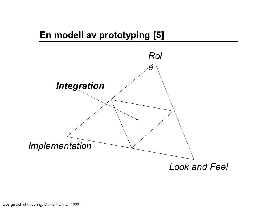 En modell av prototyping [5] Rol e Design och utvärdering, Daniel Fällman 1999 Implementation Look and Feel Integration
