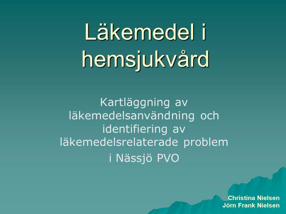 Läkemedel i hemsjukvård Kartläggning av läkemedelsanvändning och identifiering av läkemedelsrelaterade problem i Nässjö PVO Christina Nielsen Jörn Frank Nielsen