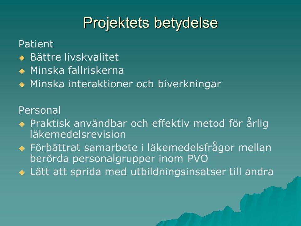 Projektets betydelse Patient   Bättre livskvalitet   Minska fallriskerna   Minska interaktioner och biverkningar Personal   Praktisk användbar