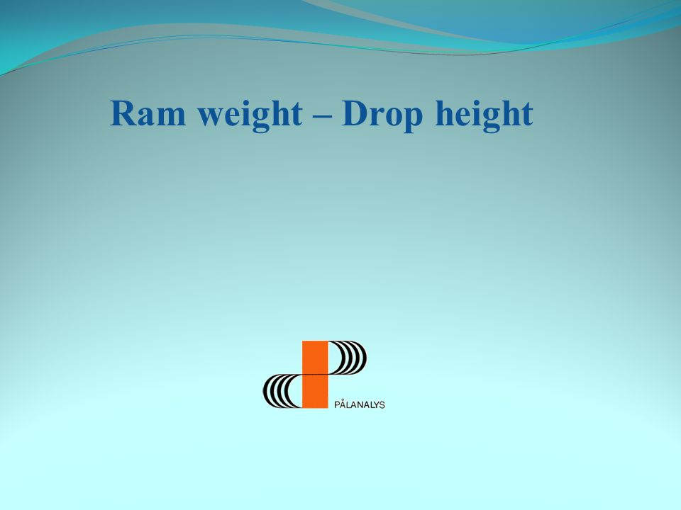 Ram weight – Drop height Example 2: Calculation of Z (EA/c) for a concrete pile (side=235mm) A (Area): 552 cm 2 (0,0552 m 2 ) E (Elastic modulus): 40000 MPa c (Wave speed): 3900 m/s Z=40000*10 6 *0,0552/3900=566000 Ns/m= 566 kNs/m