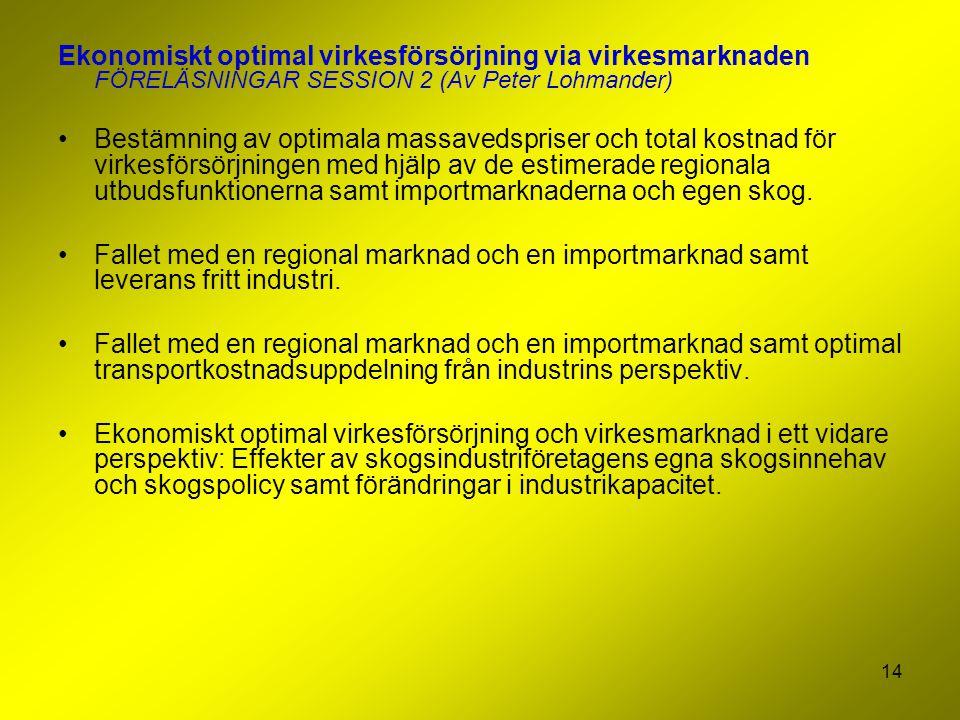 14 Ekonomiskt optimal virkesförsörjning via virkesmarknaden FÖRELÄSNINGAR SESSION 2 (Av Peter Lohmander) Bestämning av optimala massavedspriser och to