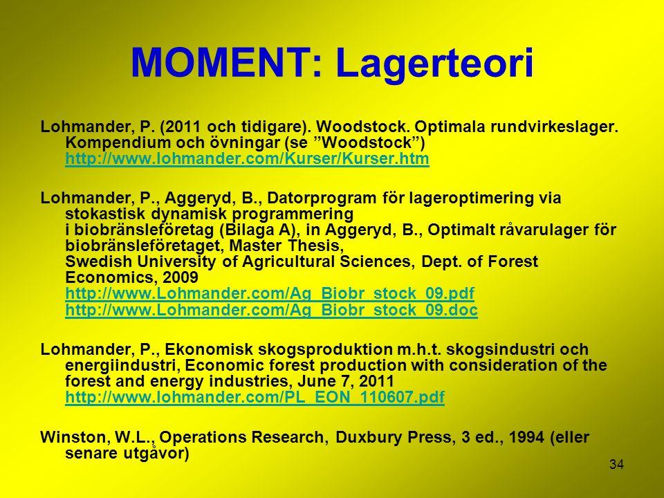 """34 MOMENT: Lagerteori Lohmander, P. (2011 och tidigare). Woodstock. Optimala rundvirkeslager. Kompendium och övningar (se """"Woodstock"""") http://www.lohm"""