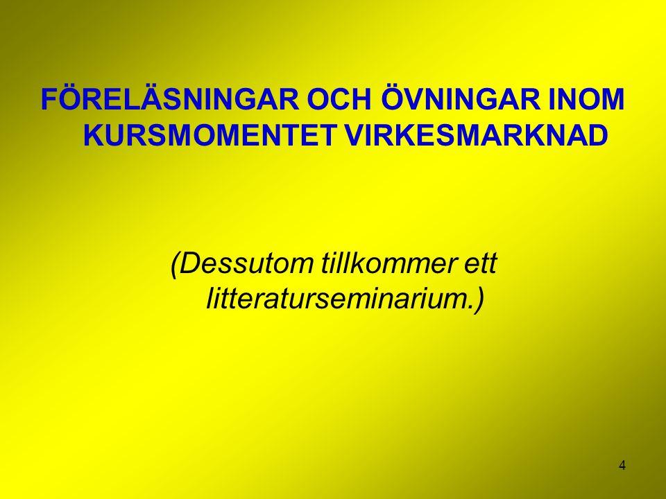 4 FÖRELÄSNINGAR OCH ÖVNINGAR INOM KURSMOMENTET VIRKESMARKNAD (Dessutom tillkommer ett litteraturseminarium.)