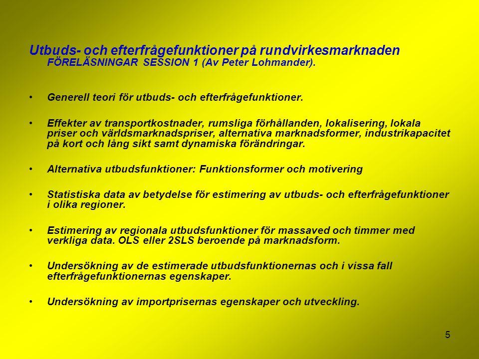 5 Utbuds- och efterfrågefunktioner på rundvirkesmarknaden FÖRELÄSNINGAR SESSION 1 (Av Peter Lohmander). Generell teori för utbuds- och efterfrågefunkt
