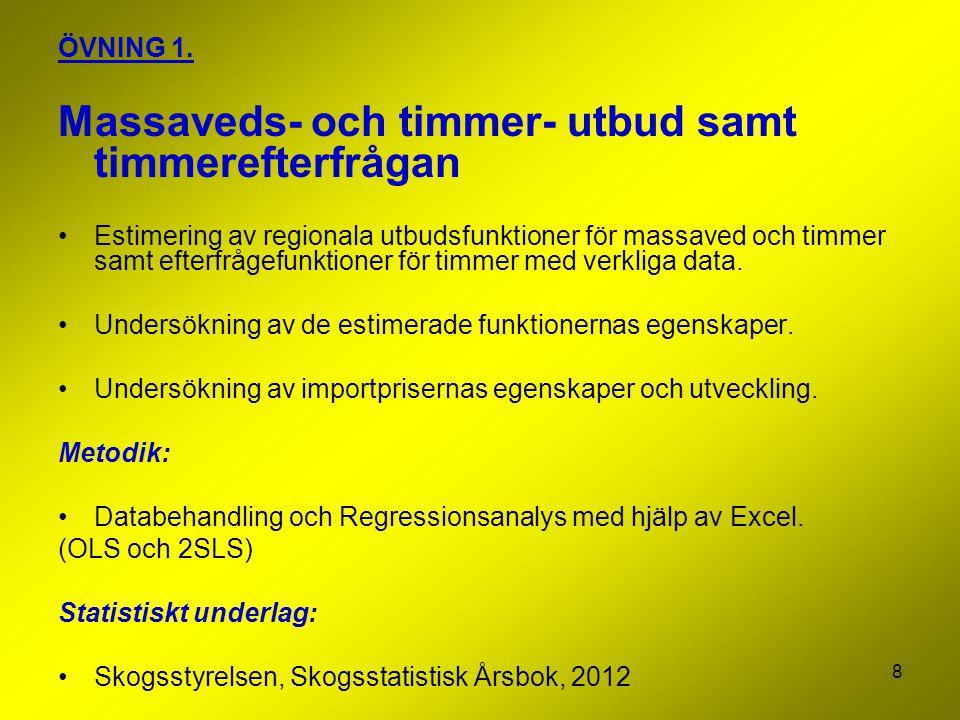 8 ÖVNING 1. Massaveds- och timmer- utbud samt timmerefterfrågan Estimering av regionala utbudsfunktioner för massaved och timmer samt efterfrågefunkti