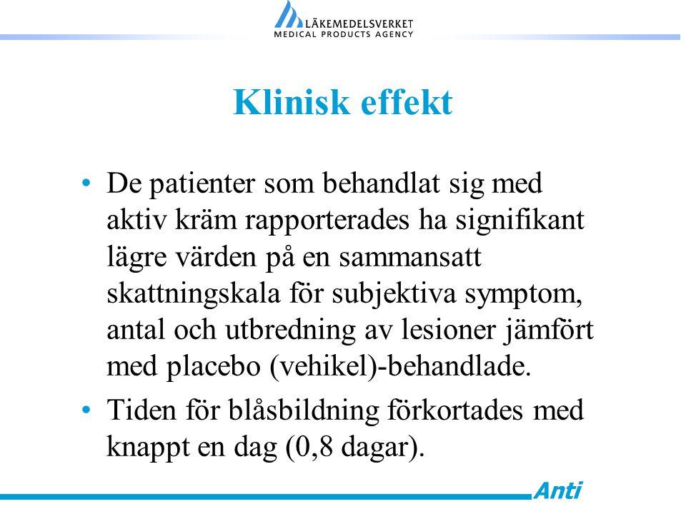 Anti Klinisk effekt De patienter som behandlat sig med aktiv kräm rapporterades ha signifikant lägre värden på en sammansatt skattningskala för subjek