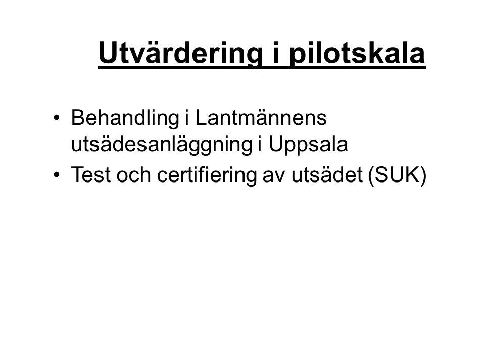 Utvärdering i pilotskala Behandling i Lantmännens utsädesanläggning i Uppsala Test och certifiering av utsädet (SUK)