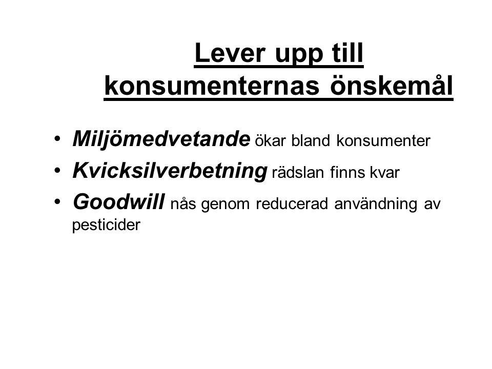 Lever upp till konsumenternas önskemål Miljömedvetande ökar bland konsumenter Kvicksilverbetning rädslan finns kvar Goodwill nås genom reducerad använ