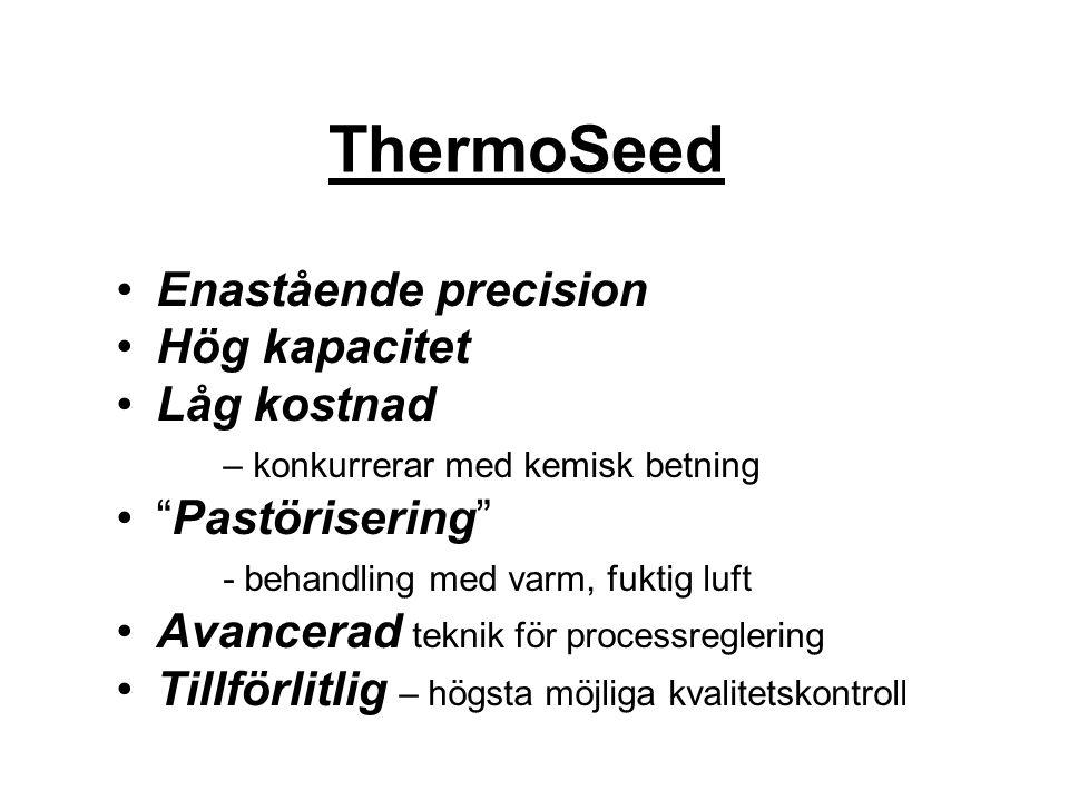 """ThermoSeed Enastående precision Hög kapacitet Låg kostnad – konkurrerar med kemisk betning """"Pastörisering"""" - behandling med varm, fuktig luft Avancera"""