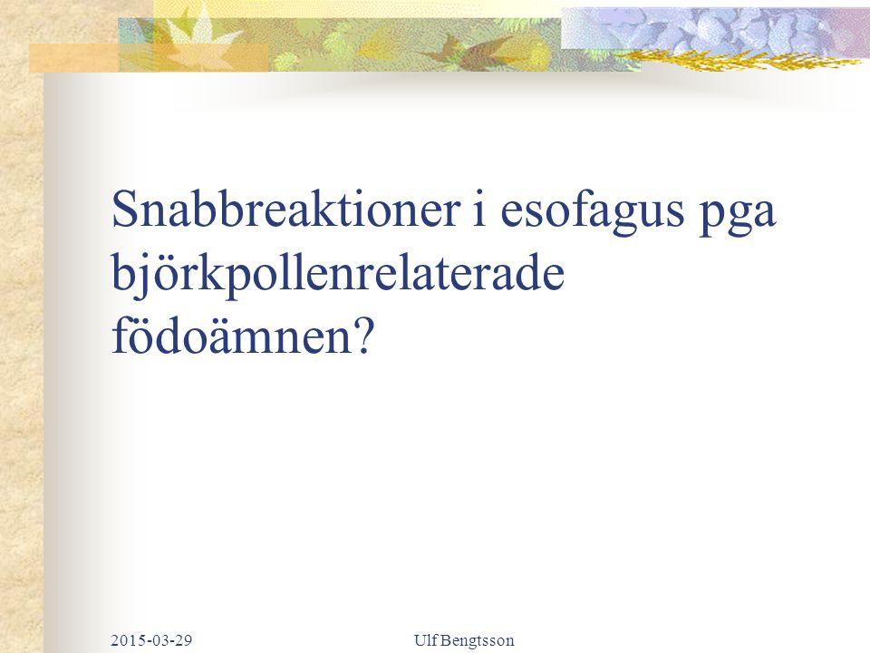 Snabbreaktioner i esofagus pga björkpollenrelaterade födoämnen? 2015-03-29Ulf Bengtsson