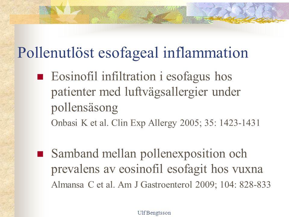 Pollenutlöst esofageal inflammation Eosinofil infiltration i esofagus hos patienter med luftvägsallergier under pollensäsong Onbasi K et al.