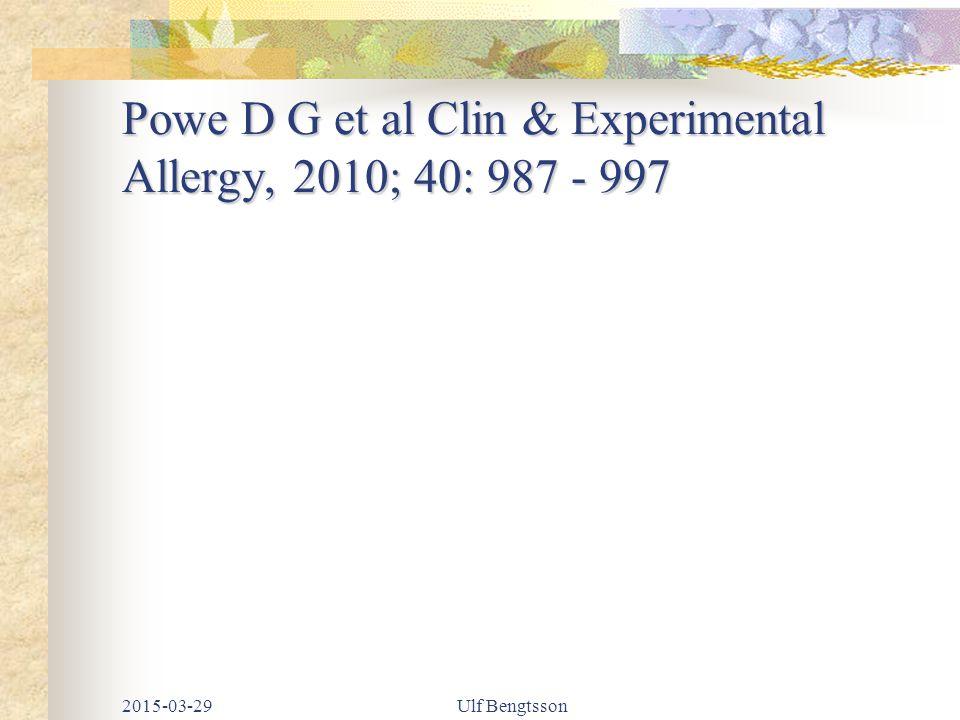 Powe D G et al Clin & Experimental Allergy, 2010; 40: 987 - 997 2015-03-29Ulf Bengtsson