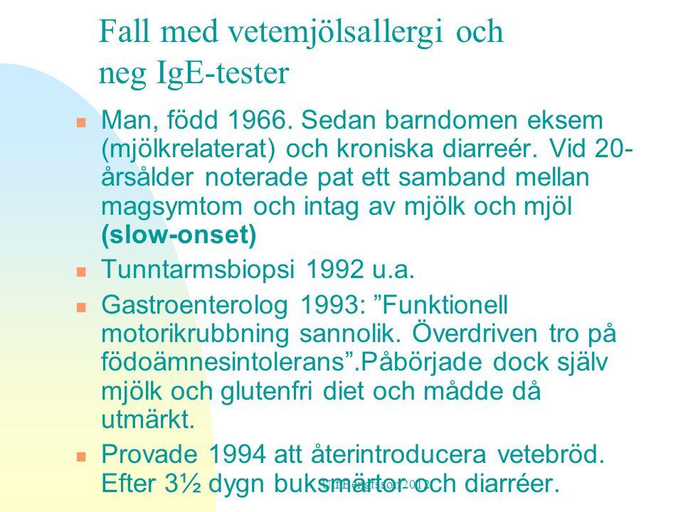Man, född 1966.Sedan barndomen eksem (mjölkrelaterat) och kroniska diarreér.