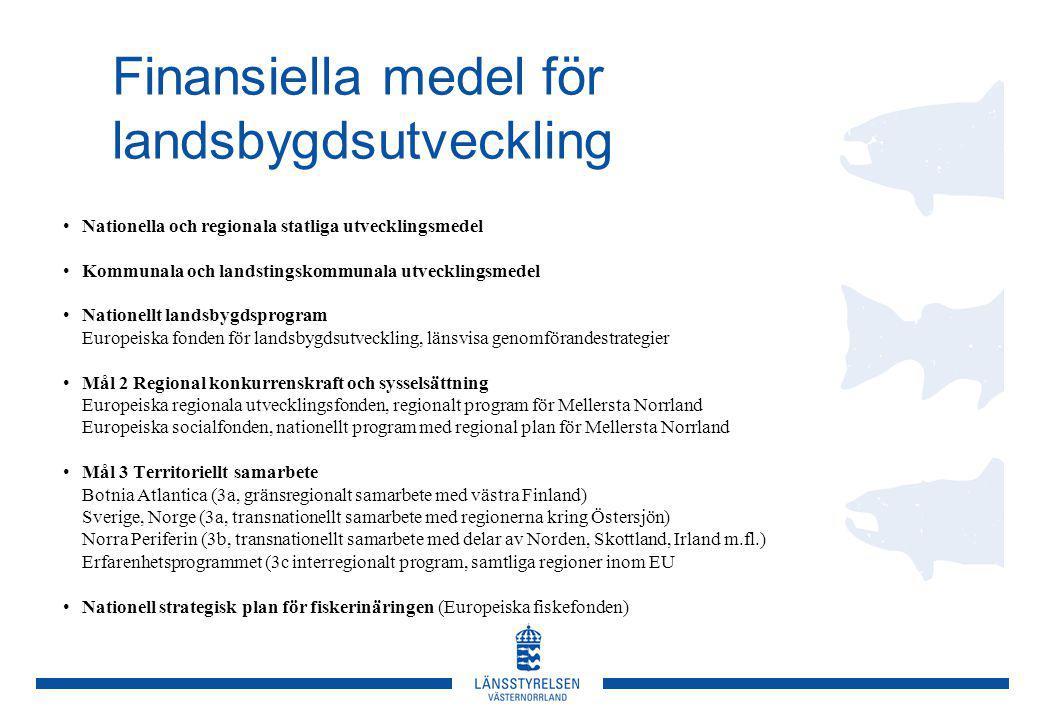 Finansiella medel för landsbygdsutveckling Nationella och regionala statliga utvecklingsmedel Kommunala och landstingskommunala utvecklingsmedel Nationellt landsbygdsprogram Europeiska fonden för landsbygdsutveckling, länsvisa genomförandestrategier Mål 2 Regional konkurrenskraft och sysselsättning Europeiska regionala utvecklingsfonden, regionalt program för Mellersta Norrland Europeiska socialfonden, nationellt program med regional plan för Mellersta Norrland Mål 3 Territoriellt samarbete Botnia Atlantica (3a, gränsregionalt samarbete med västra Finland) Sverige, Norge (3a, transnationellt samarbete med regionerna kring Östersjön) Norra Periferin (3b, transnationellt samarbete med delar av Norden, Skottland, Irland m.fl.) Erfarenhetsprogrammet (3c interregionalt program, samtliga regioner inom EU Nationell strategisk plan för fiskerinäringen (Europeiska fiskefonden)