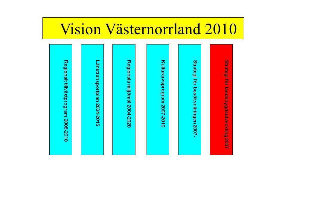 Regionalt tillväxtprogram 2008-2010Länstransportplan 2004-2015Regionala miljömål 2004-2020Kulturarvsprogram 2007-2010Strategi för besöksnäringen 2007-Strategi för landsbygdsutveckling 2007 Vision Västernorrland 2010
