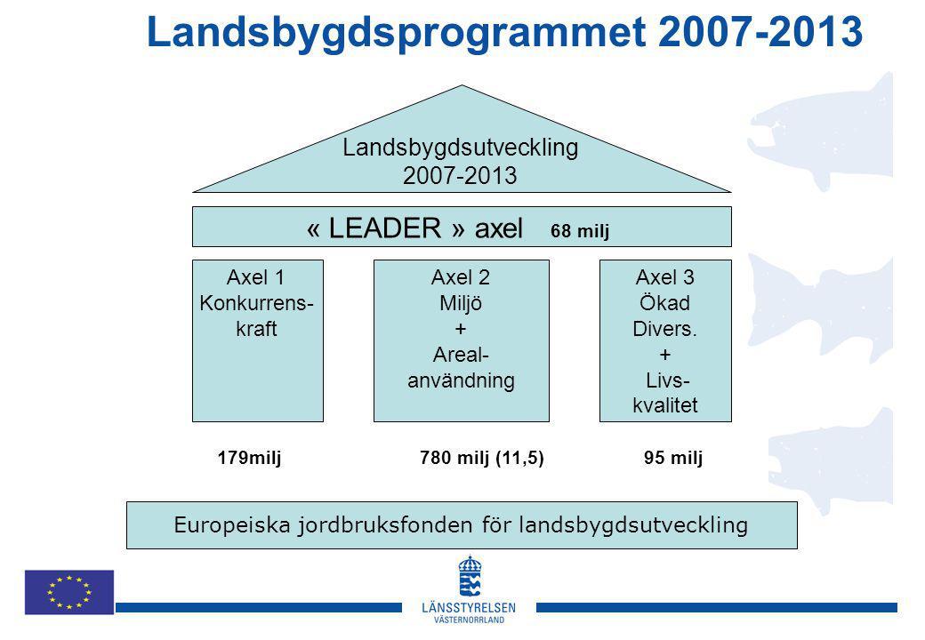 Landsbygdsutveckling 2007-2013 « LEADER » axel 68 milj Axel 1 Konkurrens- kraft Axel 2 Miljö + Areal- användning Axel 3 Ökad Divers.