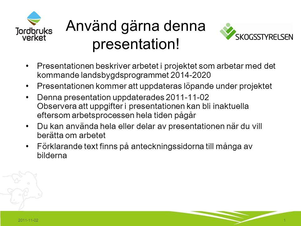 1 Använd gärna denna presentation! Presentationen beskriver arbetet i projektet som arbetar med det kommande landsbygdsprogrammet 2014-2020 Presentati