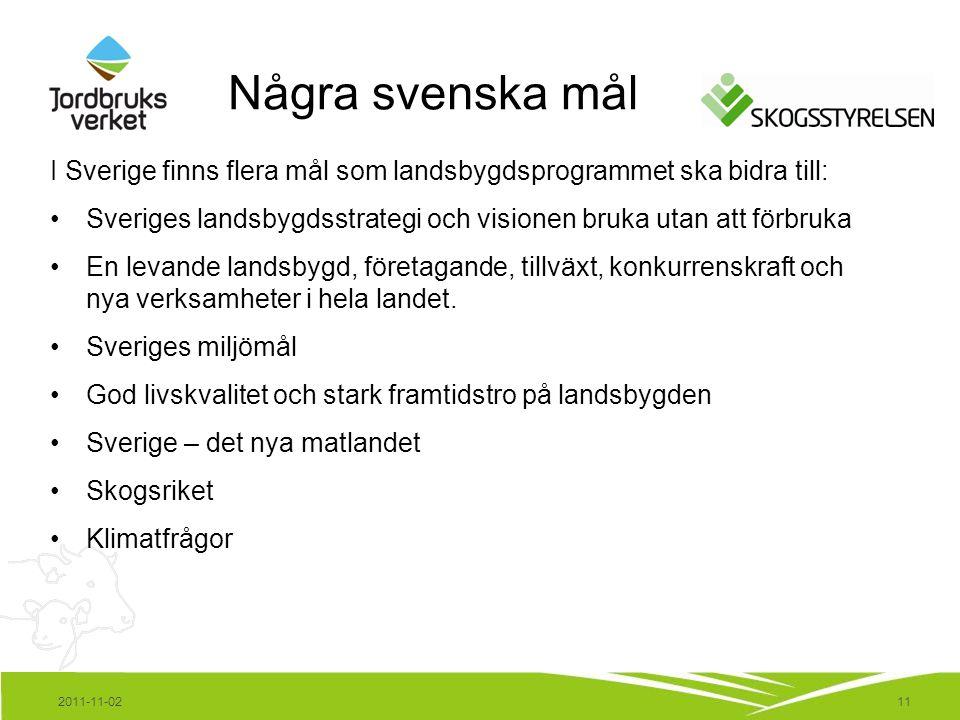 11 I Sverige finns flera mål som landsbygdsprogrammet ska bidra till: Sveriges landsbygdsstrategi och visionen bruka utan att förbruka En levande landsbygd, företagande, tillväxt, konkurrenskraft och nya verksamheter i hela landet.