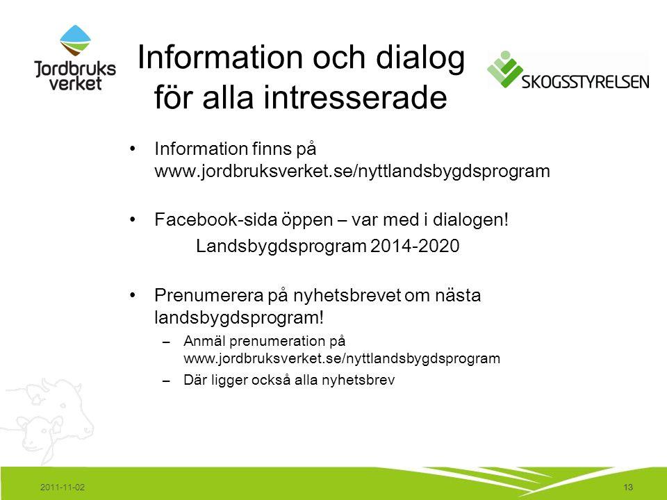13 Information och dialog för alla intresserade Information finns på www.jordbruksverket.se/nyttlandsbygdsprogram Facebook-sida öppen – var med i dial
