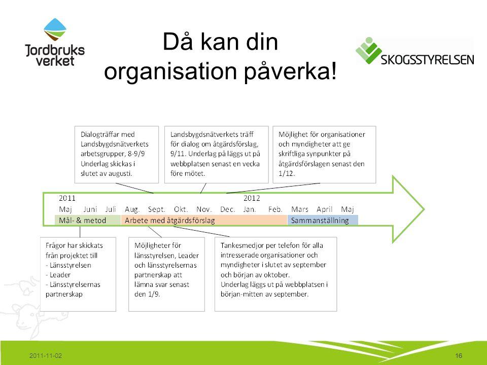 16 Då kan din organisation påverka! 2011-11-0216