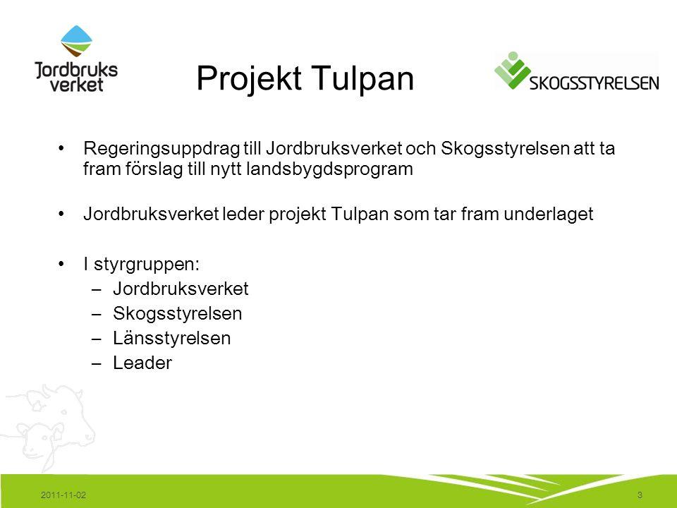 3 Projekt Tulpan Regeringsuppdrag till Jordbruksverket och Skogsstyrelsen att ta fram förslag till nytt landsbygdsprogram Jordbruksverket leder projek