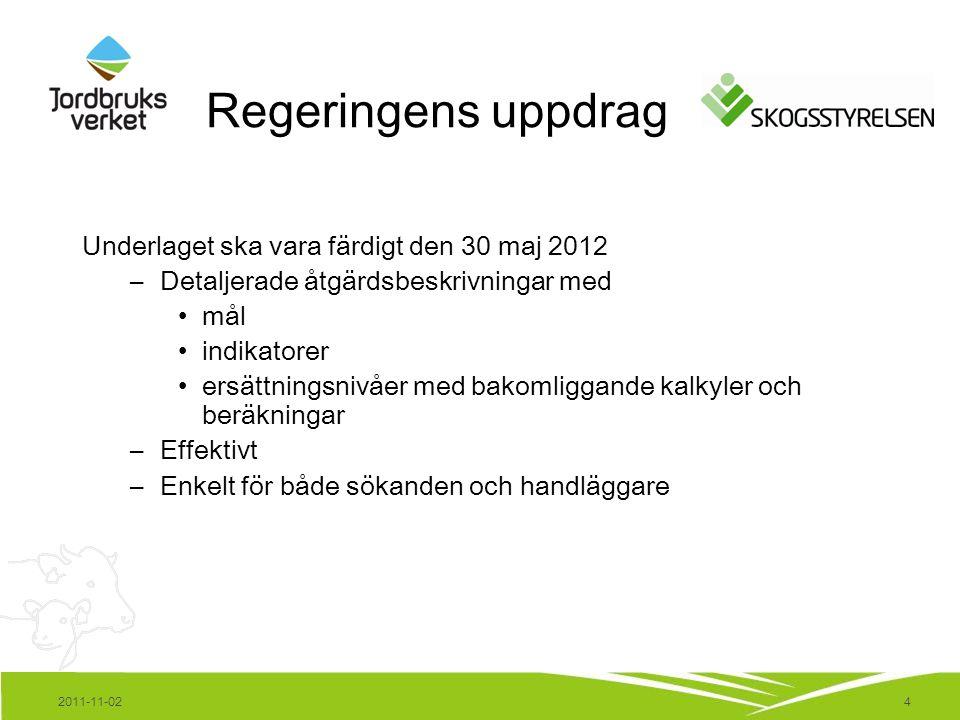 4 Regeringens uppdrag Underlaget ska vara färdigt den 30 maj 2012 –Detaljerade åtgärdsbeskrivningar med mål indikatorer ersättningsnivåer med bakomliggande kalkyler och beräkningar –Effektivt –Enkelt för både sökanden och handläggare 2011-11-02