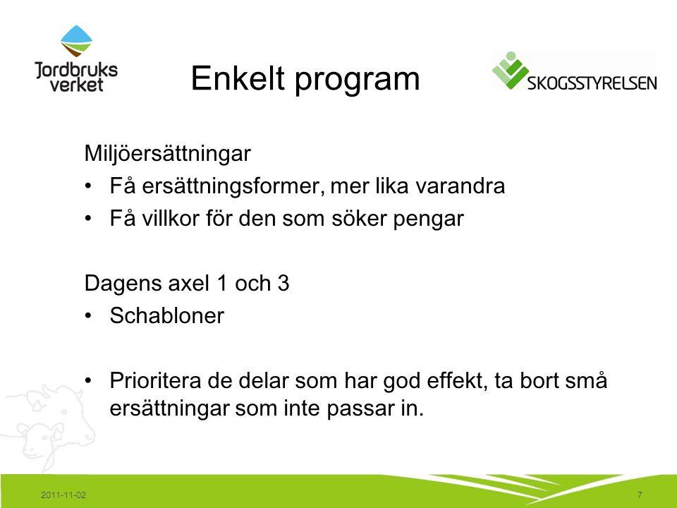 7 Enkelt program Miljöersättningar Få ersättningsformer, mer lika varandra Få villkor för den som söker pengar Dagens axel 1 och 3 Schabloner Priorite