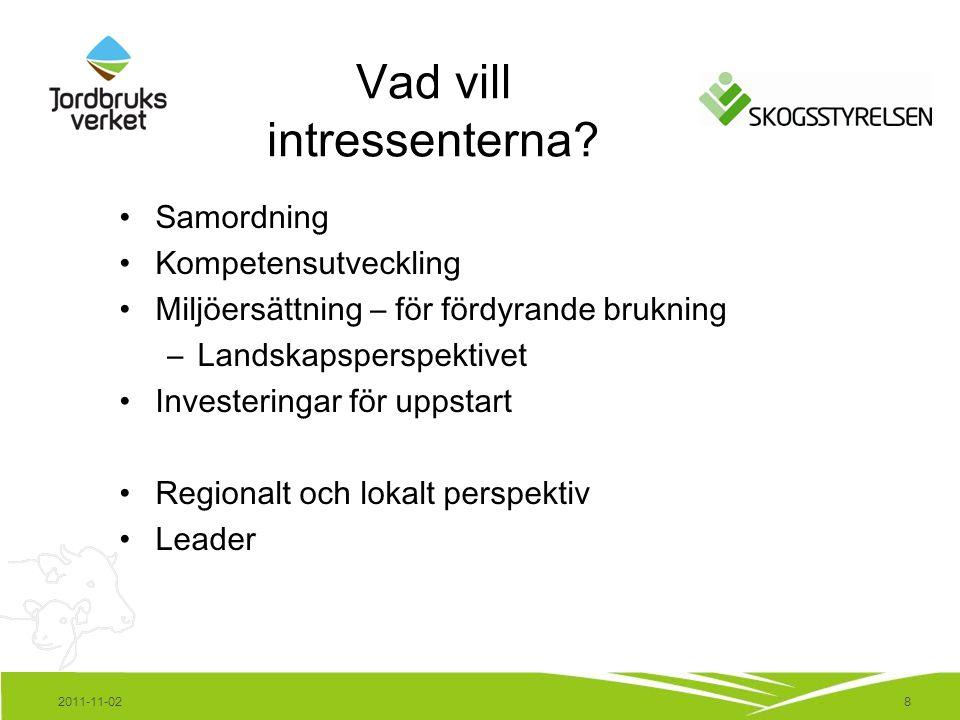 8 Vad vill intressenterna? Samordning Kompetensutveckling Miljöersättning – för fördyrande brukning –Landskapsperspektivet Investeringar för uppstart